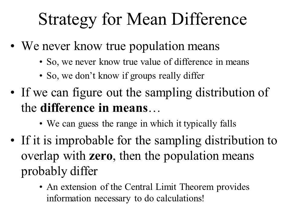 Strategy for Mean Difference