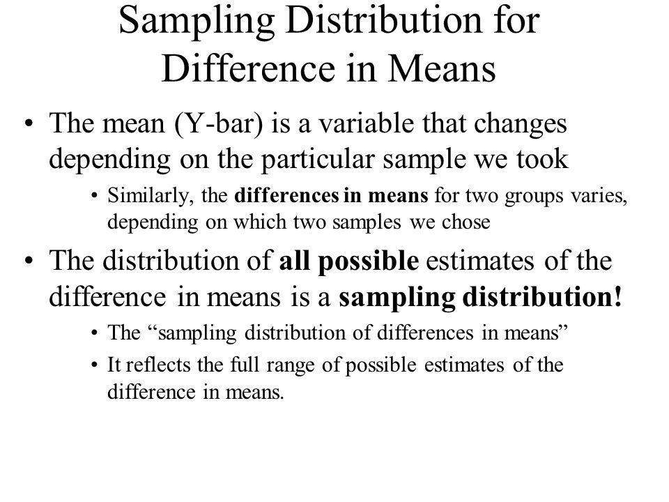 Sampling Distribution for Difference in Means