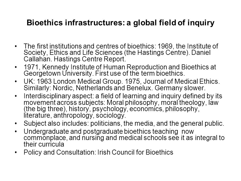 Bioethics infrastructures: a global field of inquiry