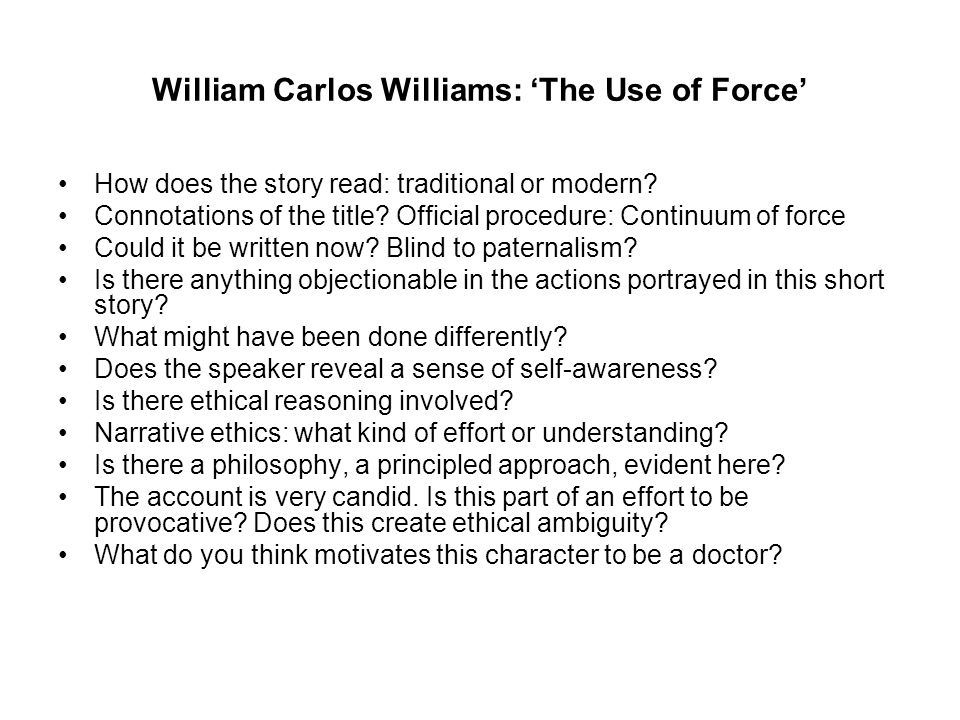 William Carlos Williams: 'The Use of Force'