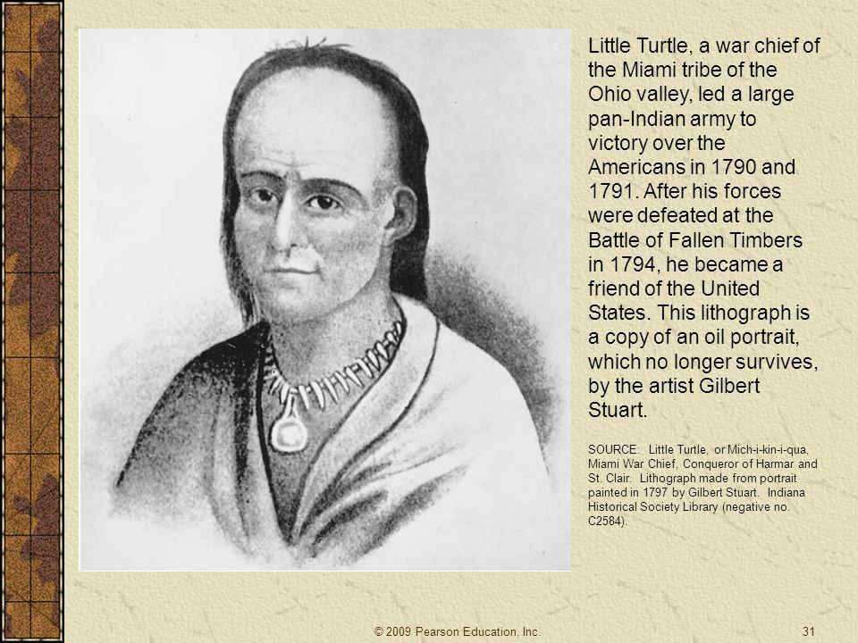 Little Turtle, a war chief of the Miami tribe of the Ohio valley, led a large pan-Indian army to victory over the Americans in 1790 and 1791. After his forces were defeated at the Battle of Fallen Timbers in 1794, he became a friend of the United States. This lithograph is a copy of an oil portrait, which no longer survives, by the artist Gilbert Stuart.