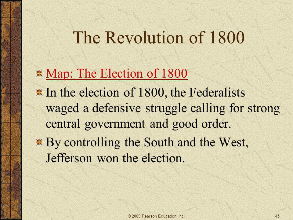The Revolution of 1800 Map: The Election of 1800