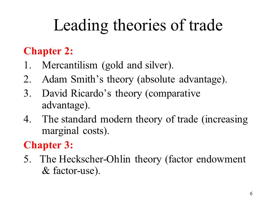 Leading theories of trade