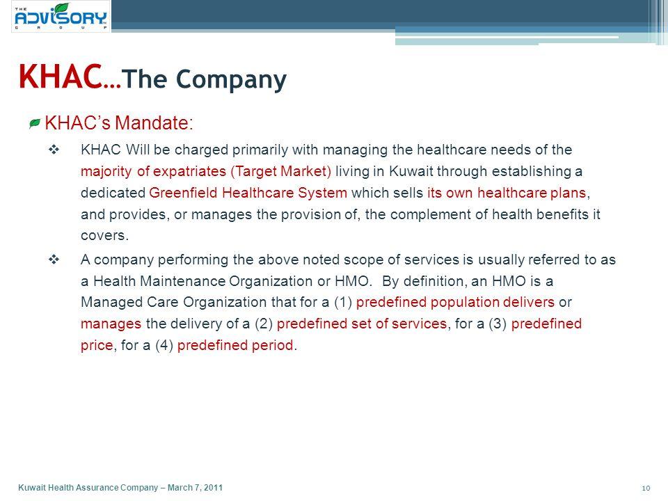 KHAC…The Company KHAC's Mandate:
