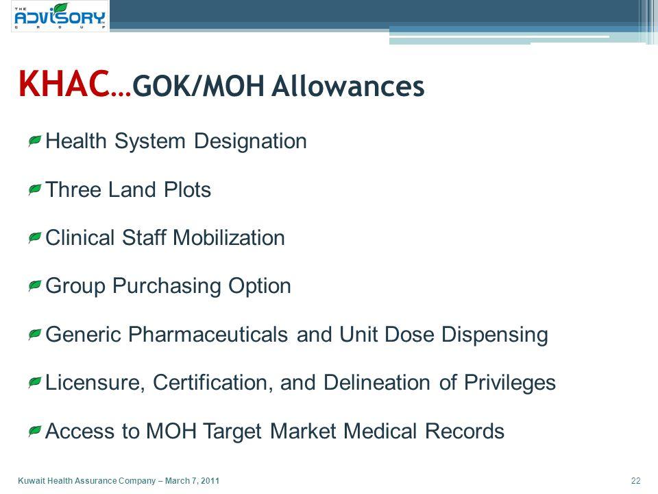 KHAC…GOK/MOH Allowances