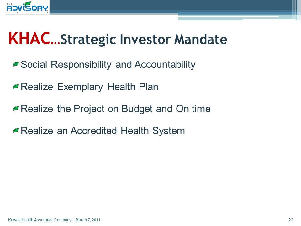 KHAC…Strategic Investor Mandate