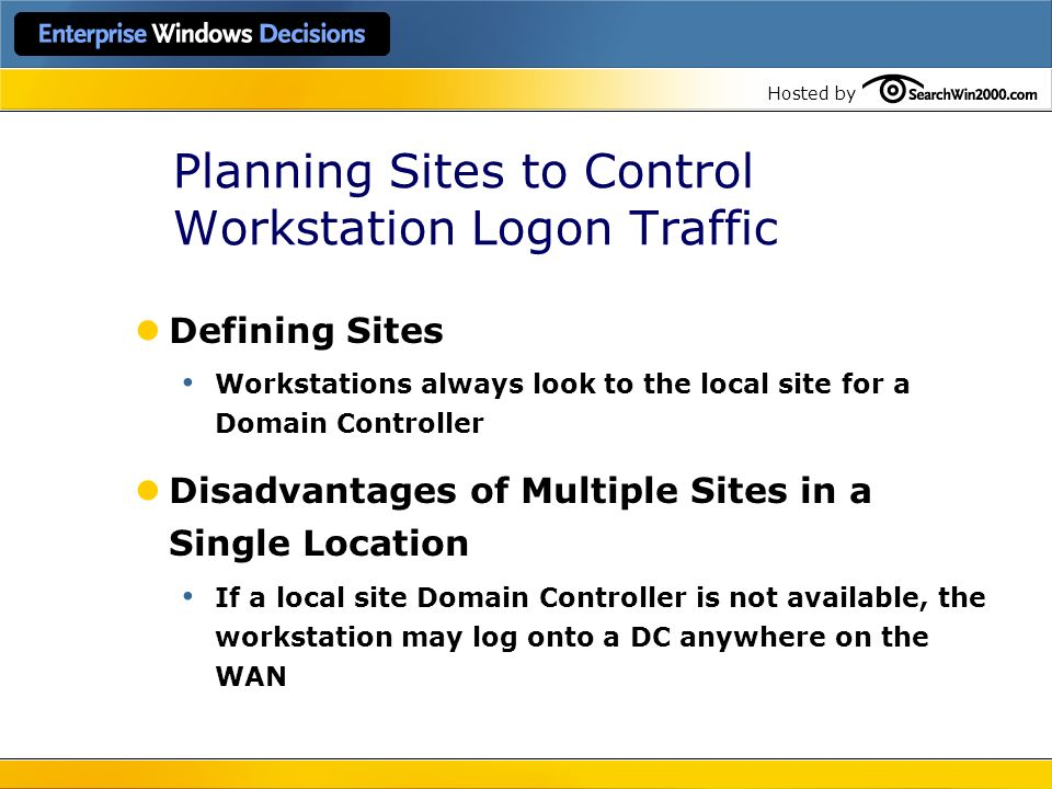 Planning Sites to Control Workstation Logon Traffic