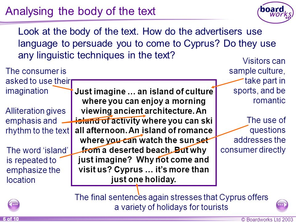 Analysing the body of the text