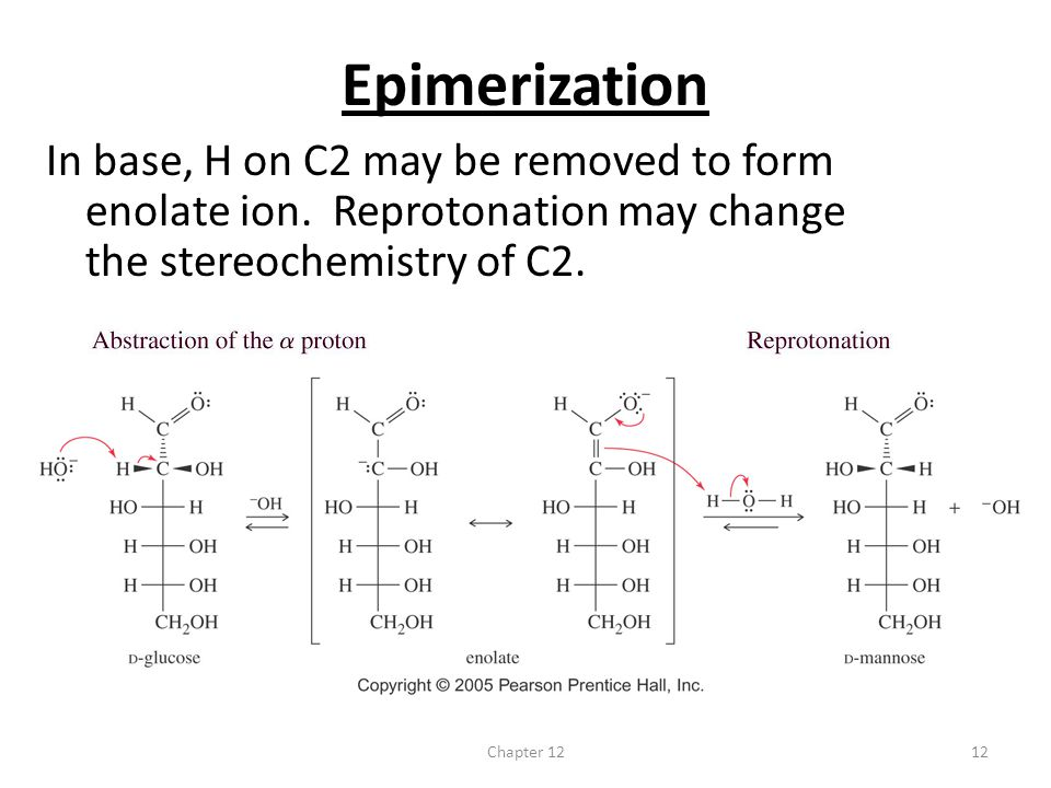 Epimerization In base, H on C2 may be removed to form enolate ion. Reprotonation may change the stereochemistry of C2.
