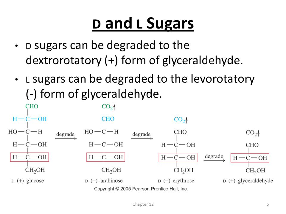 D and L Sugars D sugars can be degraded to the dextrorotatory (+) form of glyceraldehyde.
