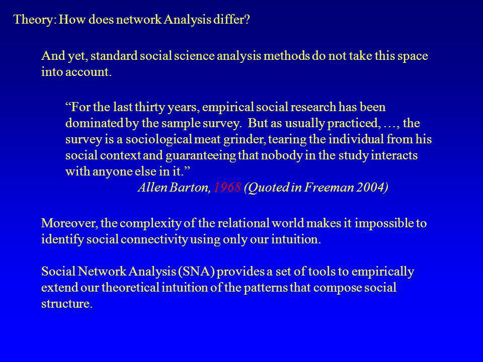 Theory: How does network Analysis differ