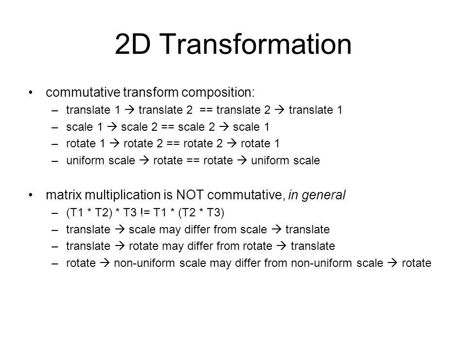 2D Transformation commutative transform composition: