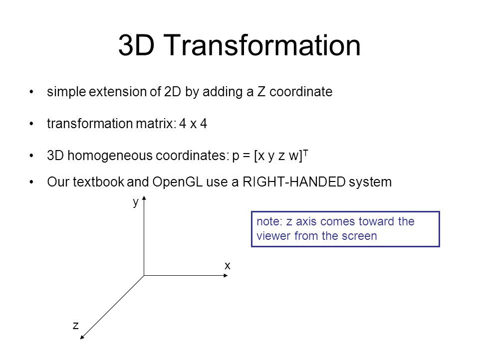 3D Transformation simple extension of 2D by adding a Z coordinate
