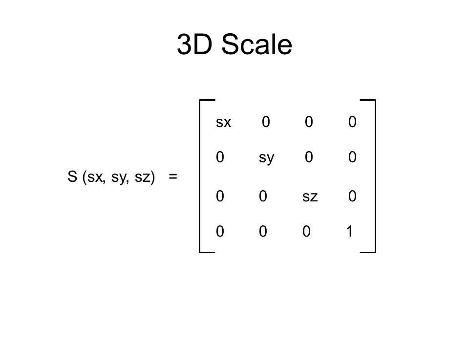 3D Scale sx 0 0 0. 0 sy 0 0. S (sx, sy, sz) = 0 0 sz 0.