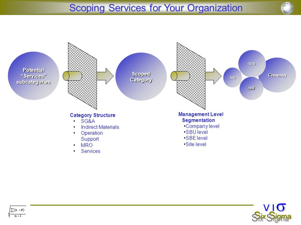 Potential Services subcategories Management Level Segmentation