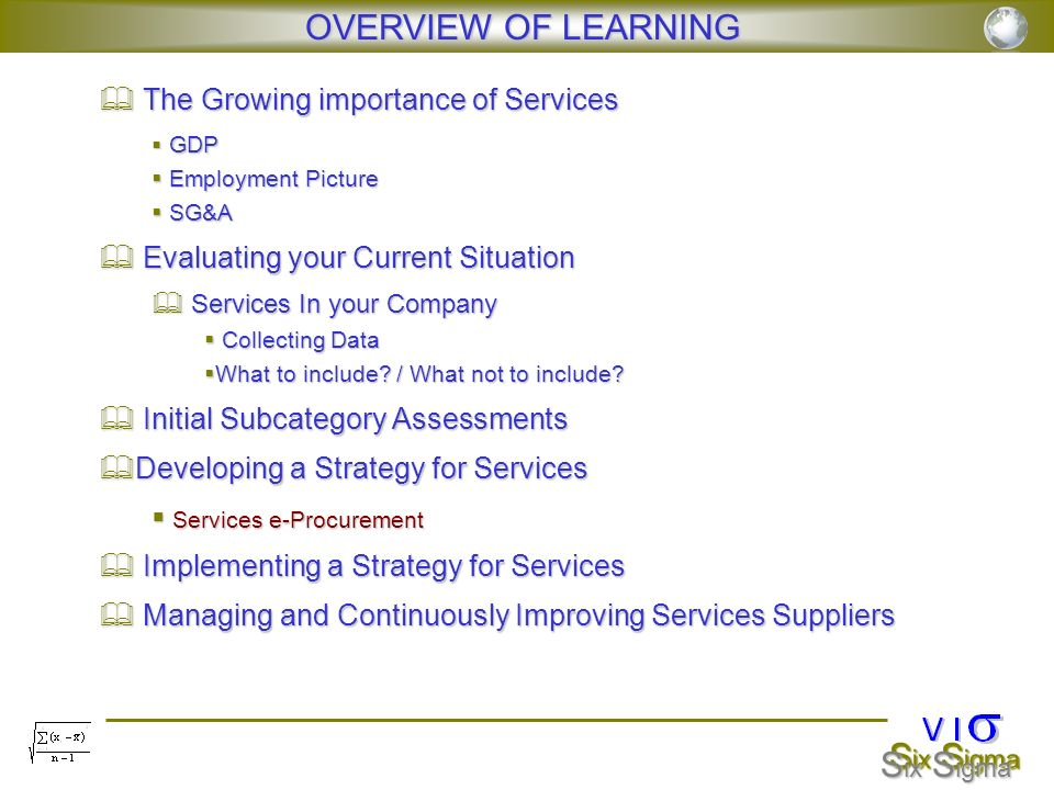 OVERVIEW OF LEARNING The Growing importance of Services GDP