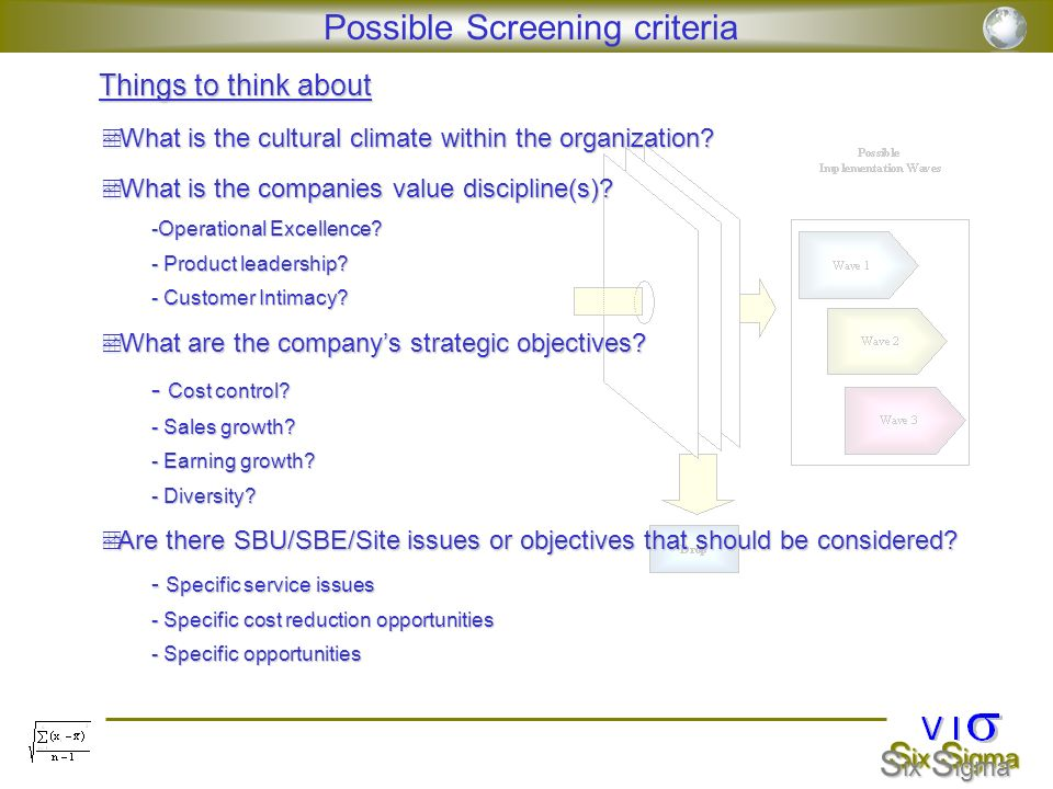 Possible Screening criteria