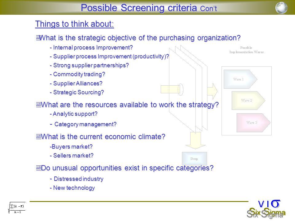 Possible Screening criteria Con't