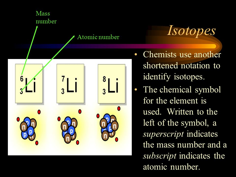 Isotopes Chemists use another shortened notation to identify isotopes.