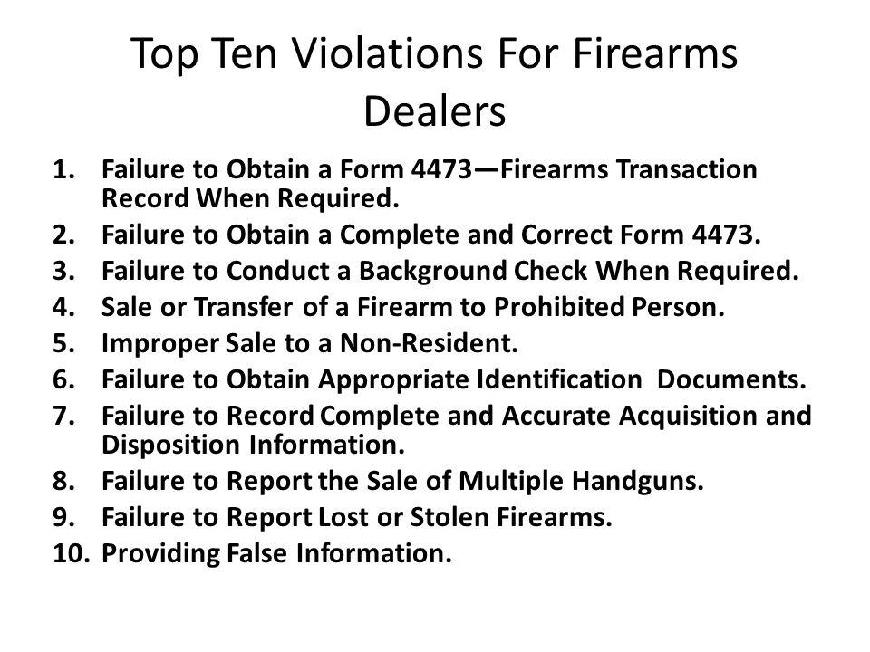 Top Ten Violations For Firearms Dealers