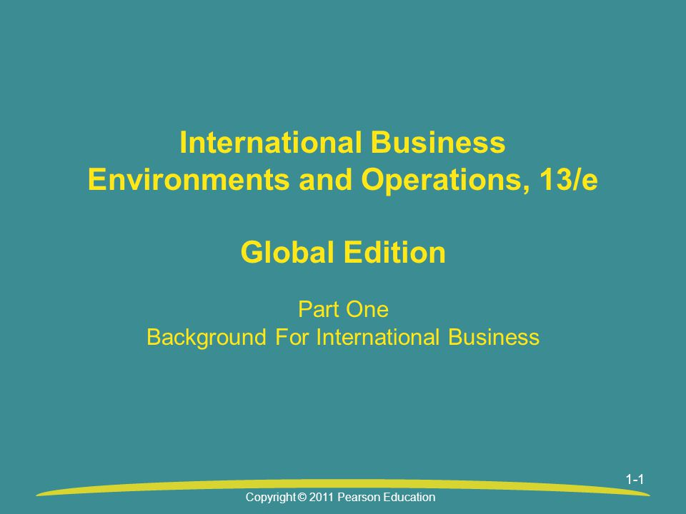 Part One Background For International Business