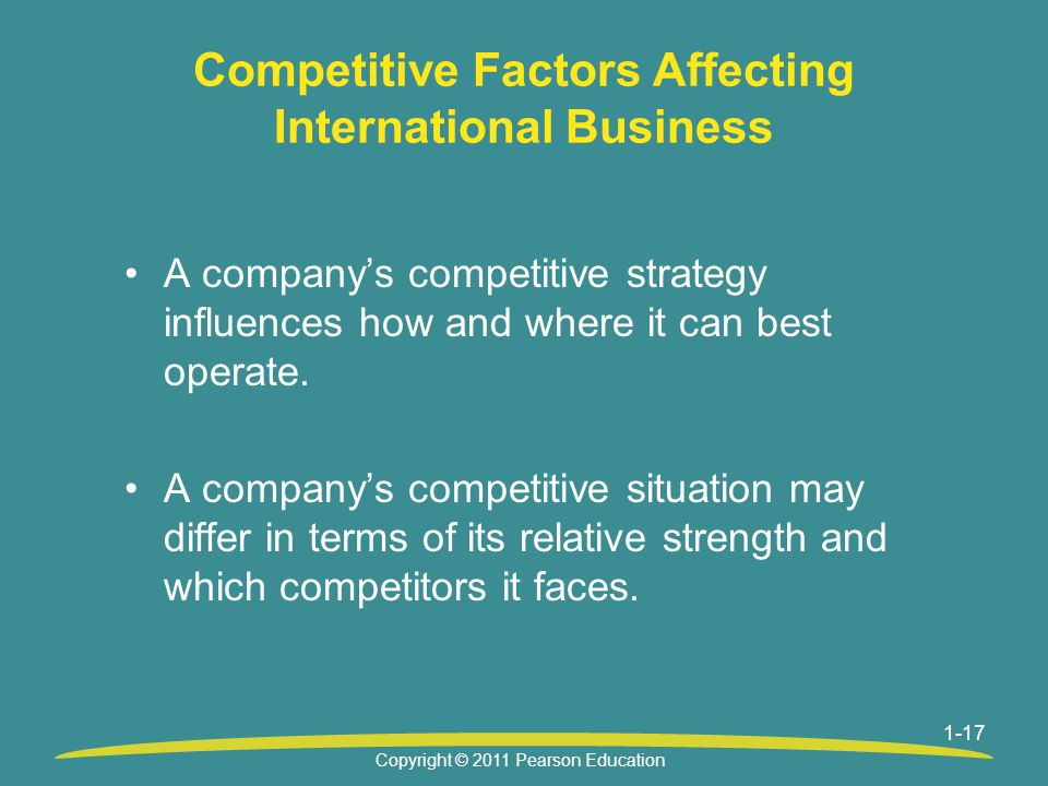 Competitive Factors Affecting International Business