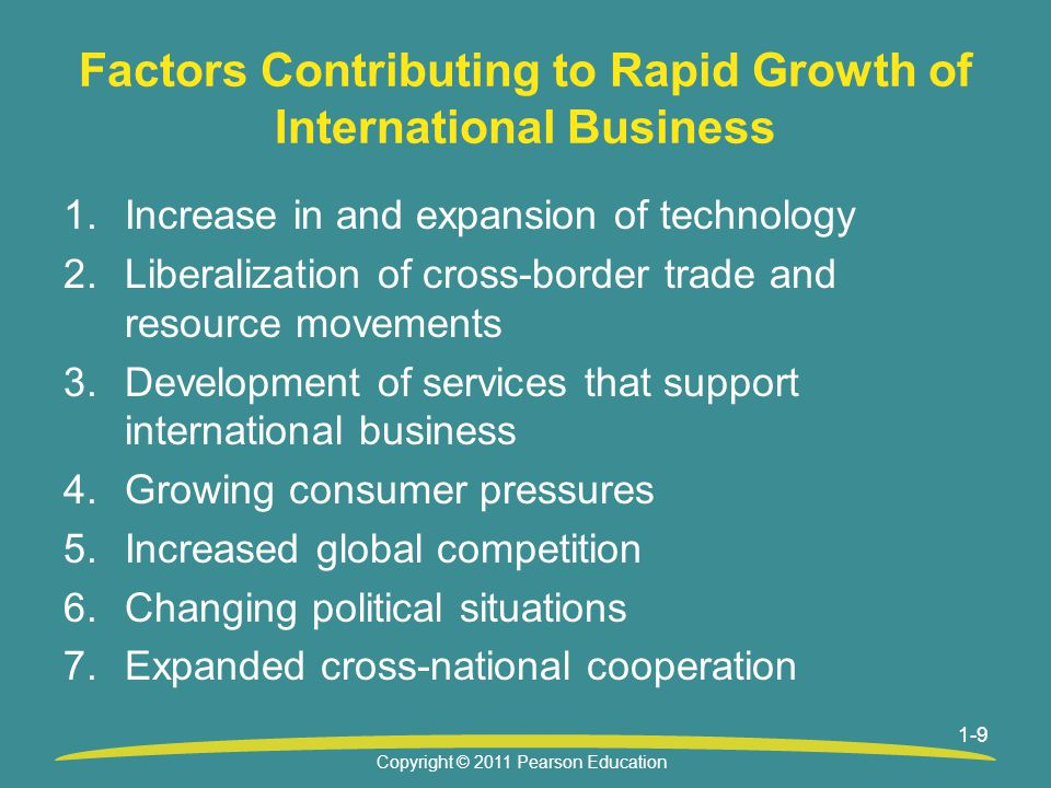 Factors Contributing to Rapid Growth of International Business