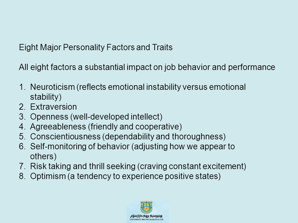 Eight Major Personality Factors and Traits