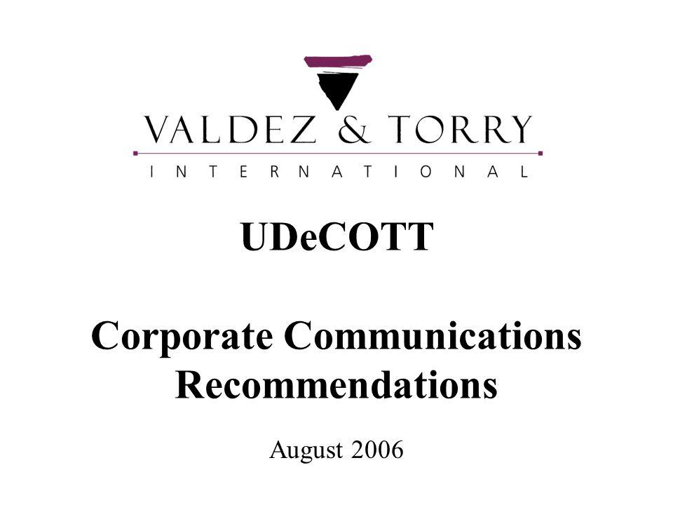 UDeCOTT Corporate Communications Recommendations