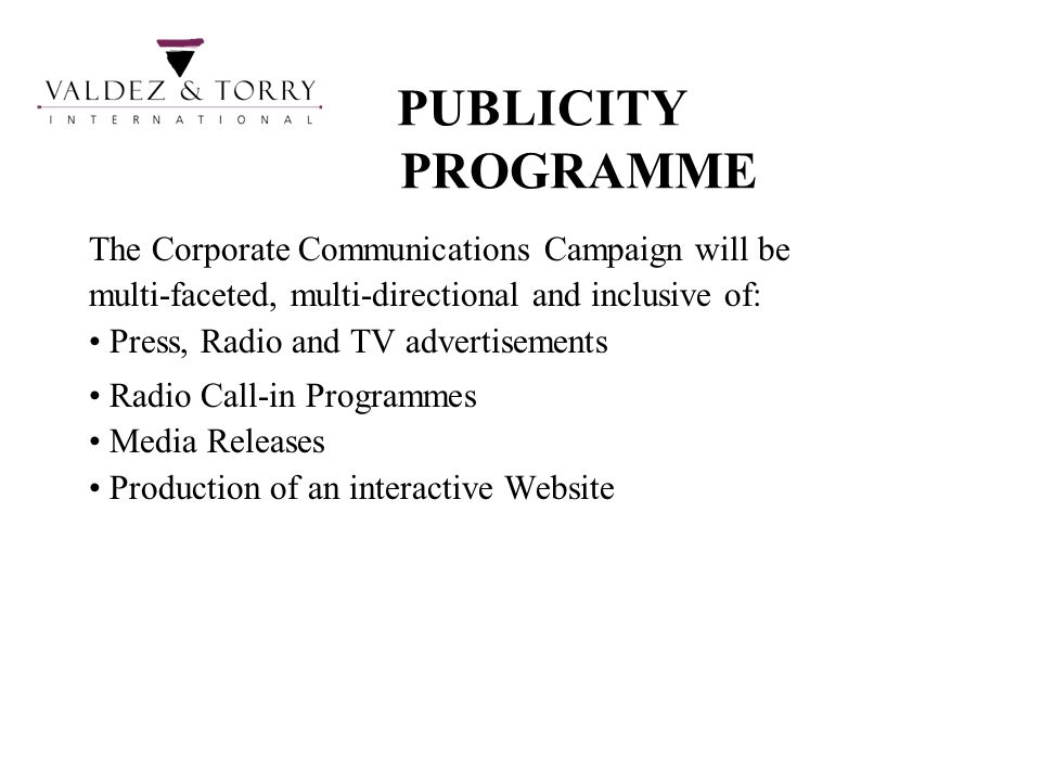 PUBLICITY PROGRAMME The Corporate Communications Campaign will be