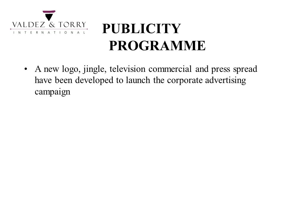 PUBLICITY PROGRAMME A new logo, jingle, television commercial and press spread have been developed to launch the corporate advertising campaign.