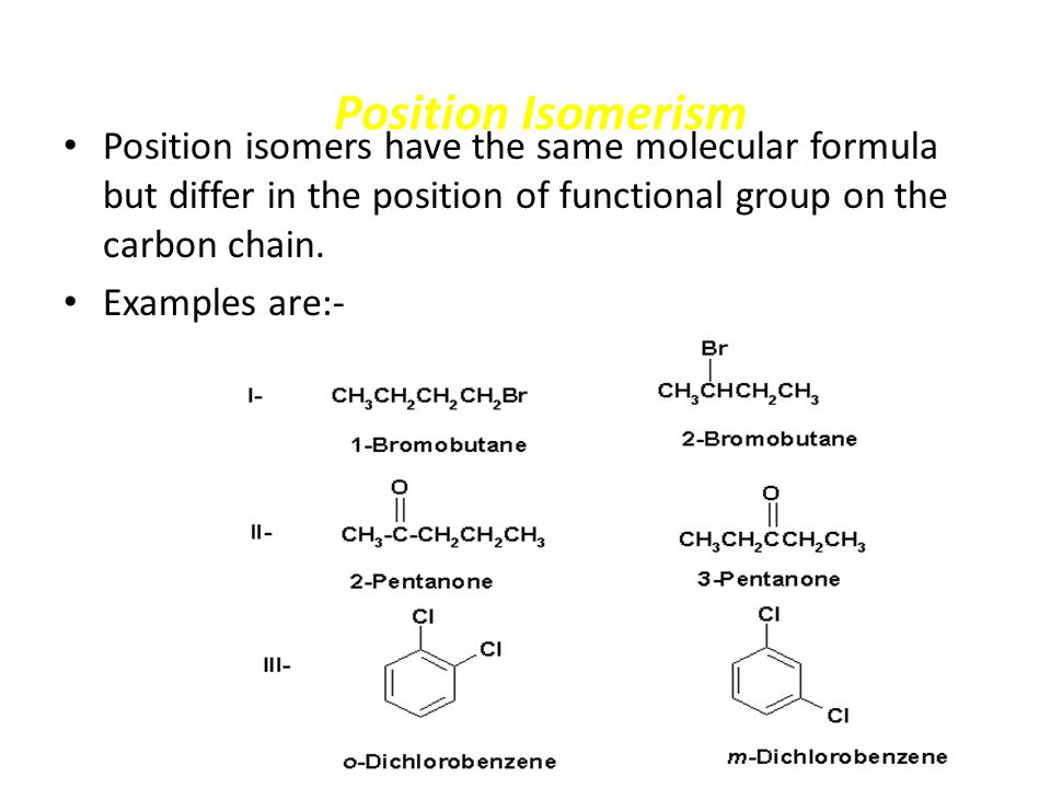 Position Isomerism Position isomers have the same molecular formula but differ in the position of functional group on the carbon chain.