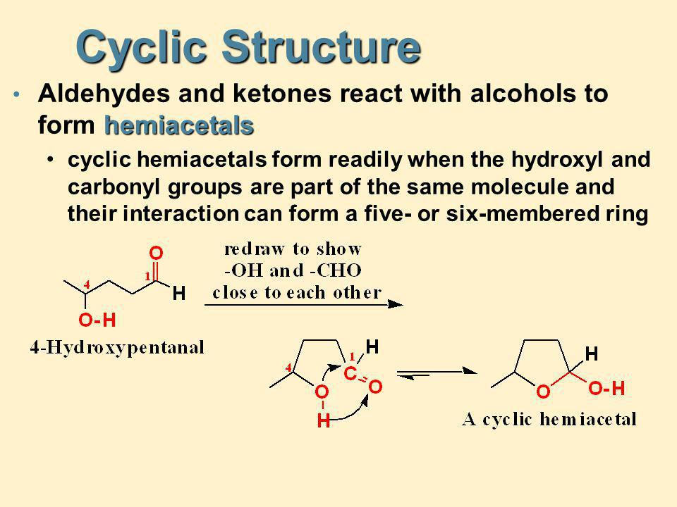 Cyclic Structure Aldehydes and ketones react with alcohols to form hemiacetals.