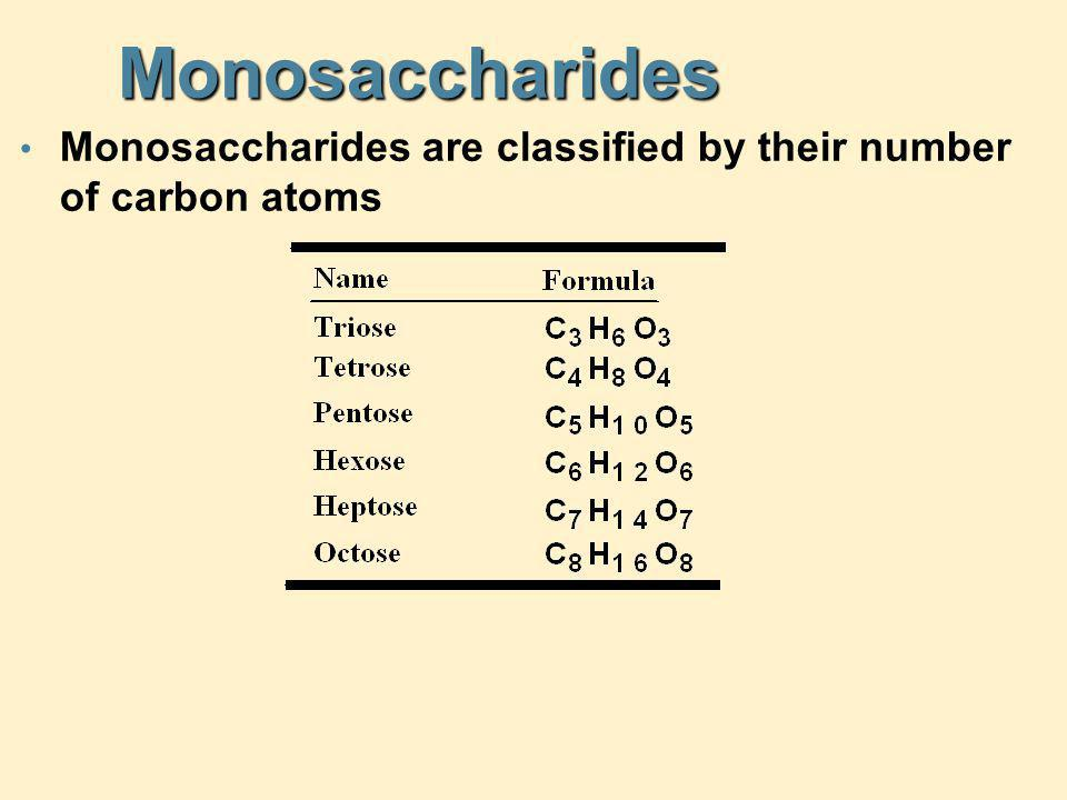 Monosaccharides Monosaccharides are classified by their number of carbon atoms