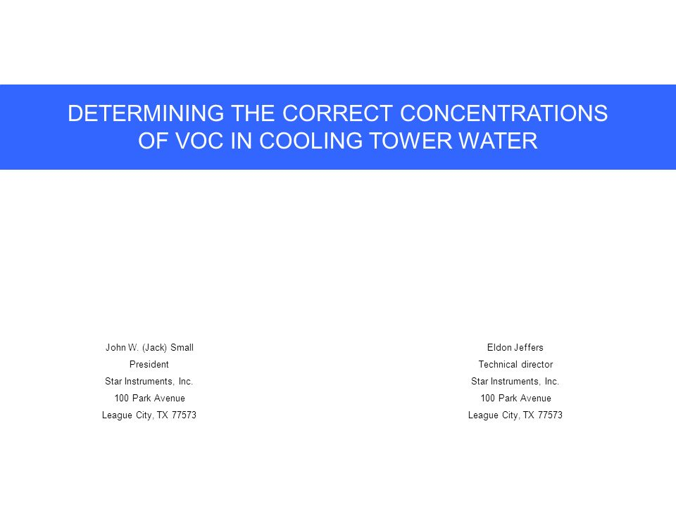 DETERMINING THE CORRECT CONCENTRATIONS OF VOC IN COOLING TOWER WATER