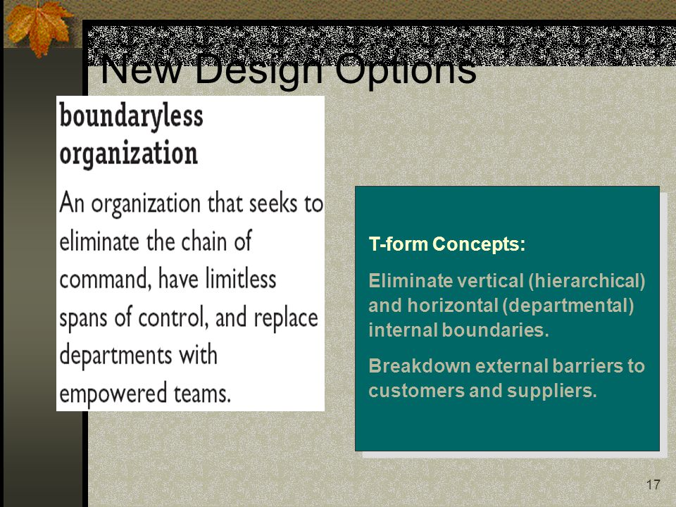 New Design Options T-form Concepts: