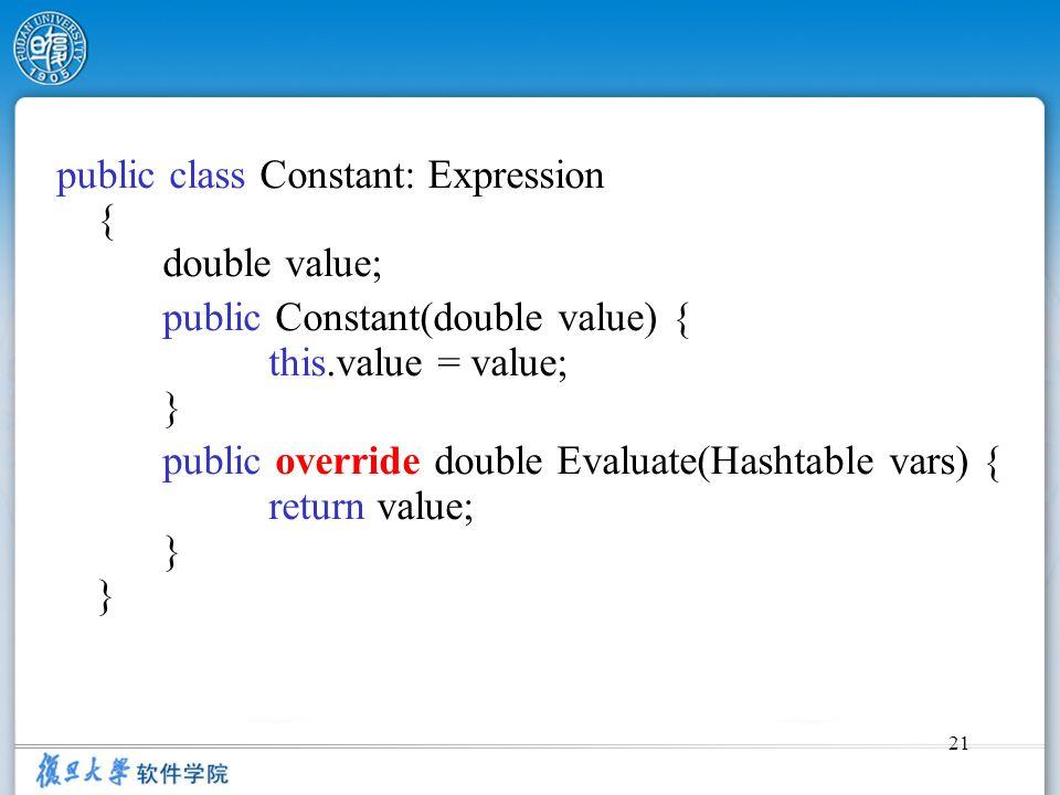 public class Constant: Expression { double value;