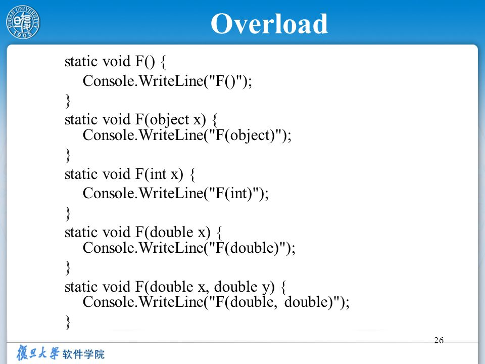 Overload static void F() { Console.WriteLine( F() ); }