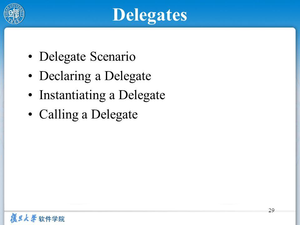 Delegates Delegate Scenario Declaring a Delegate
