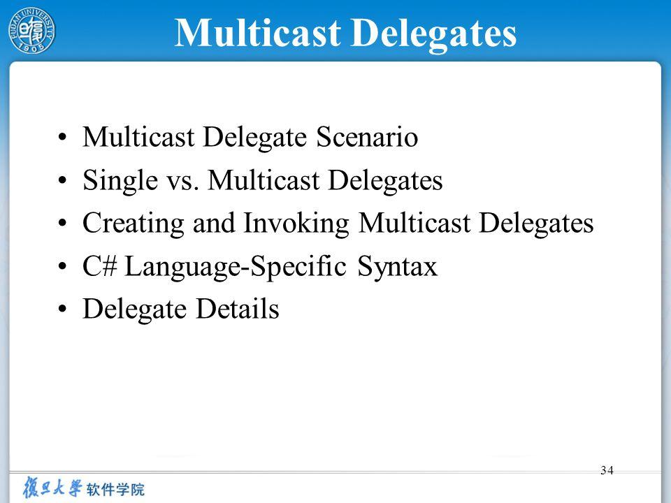 Multicast Delegates Multicast Delegate Scenario