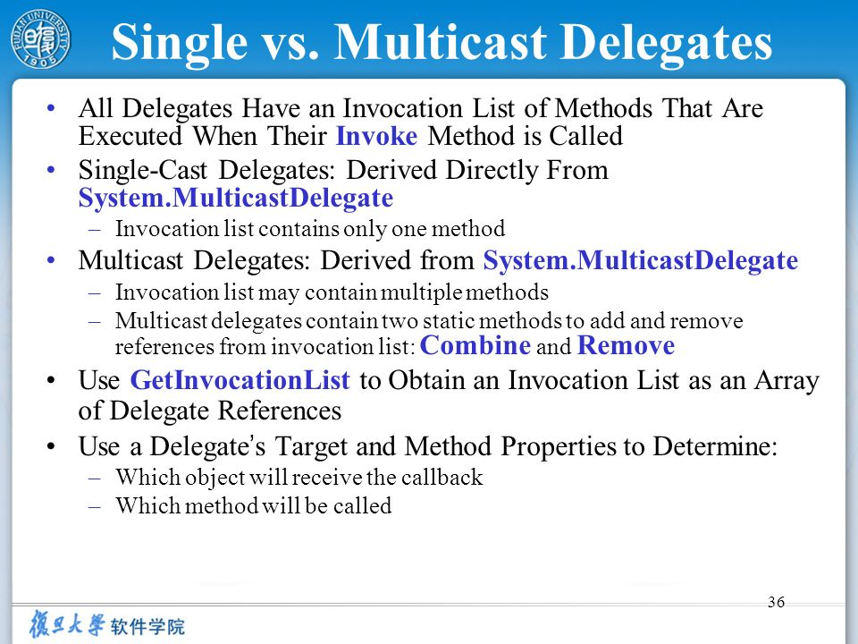 Single vs. Multicast Delegates