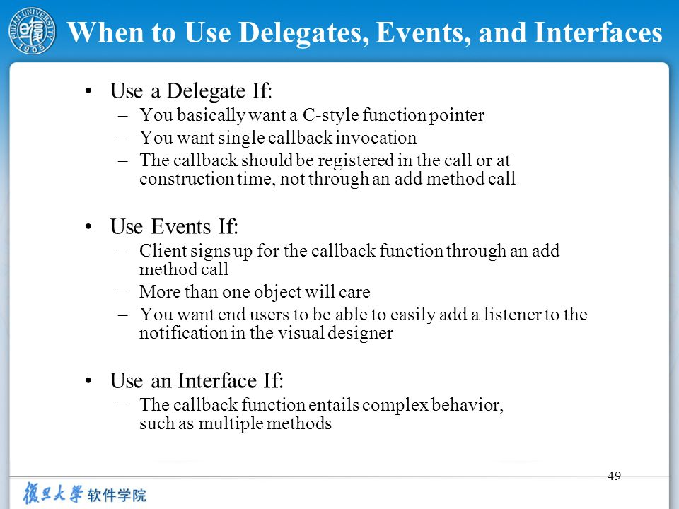 When to Use Delegates, Events, and Interfaces