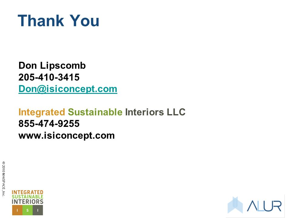 Thank You Don Lipscomb 205-410-3415 Don@isiconcept.com