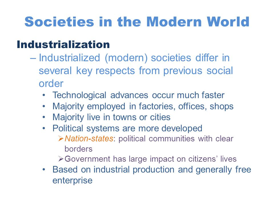Societies in the Modern World