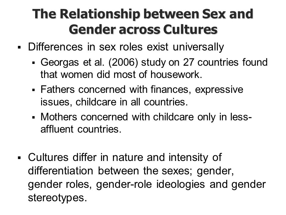 The Relationship between Sex and Gender across Cultures
