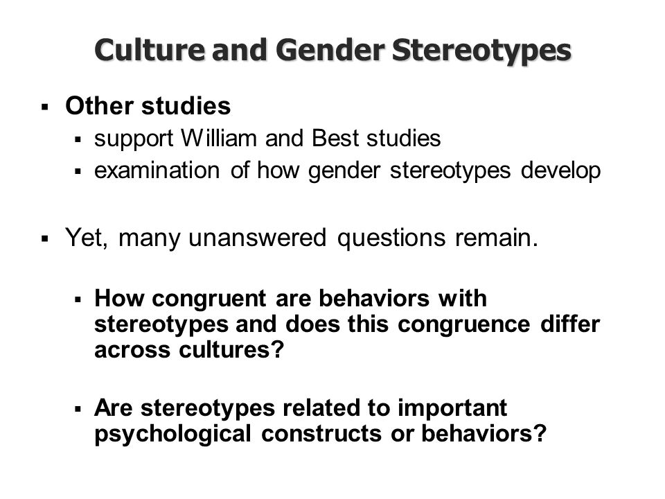 Culture and Gender Stereotypes