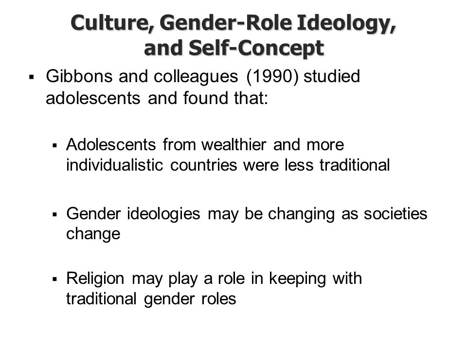 Culture, Gender-Role Ideology, and Self-Concept