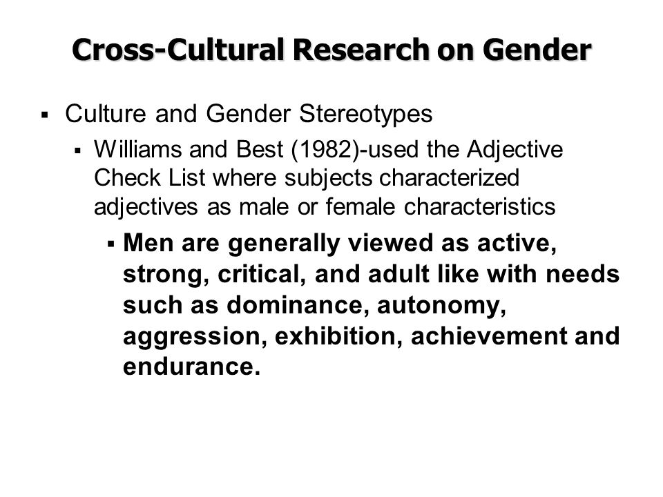 Cross-Cultural Research on Gender