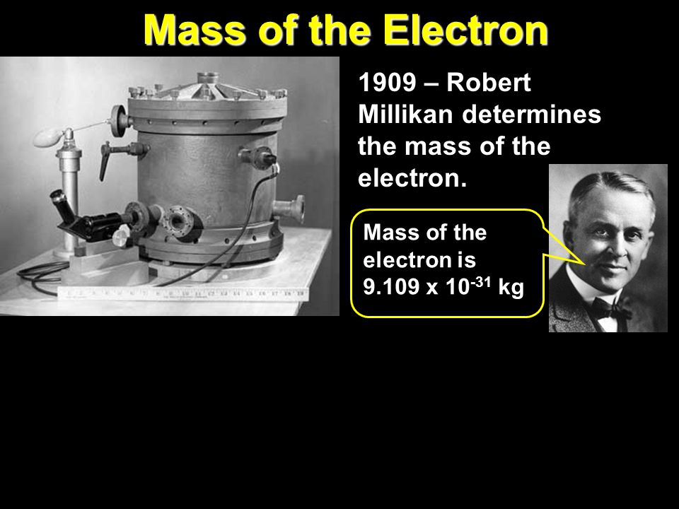 Mass of the Electron 1909 – Robert Millikan determines the mass of the electron. Mass of the electron is.