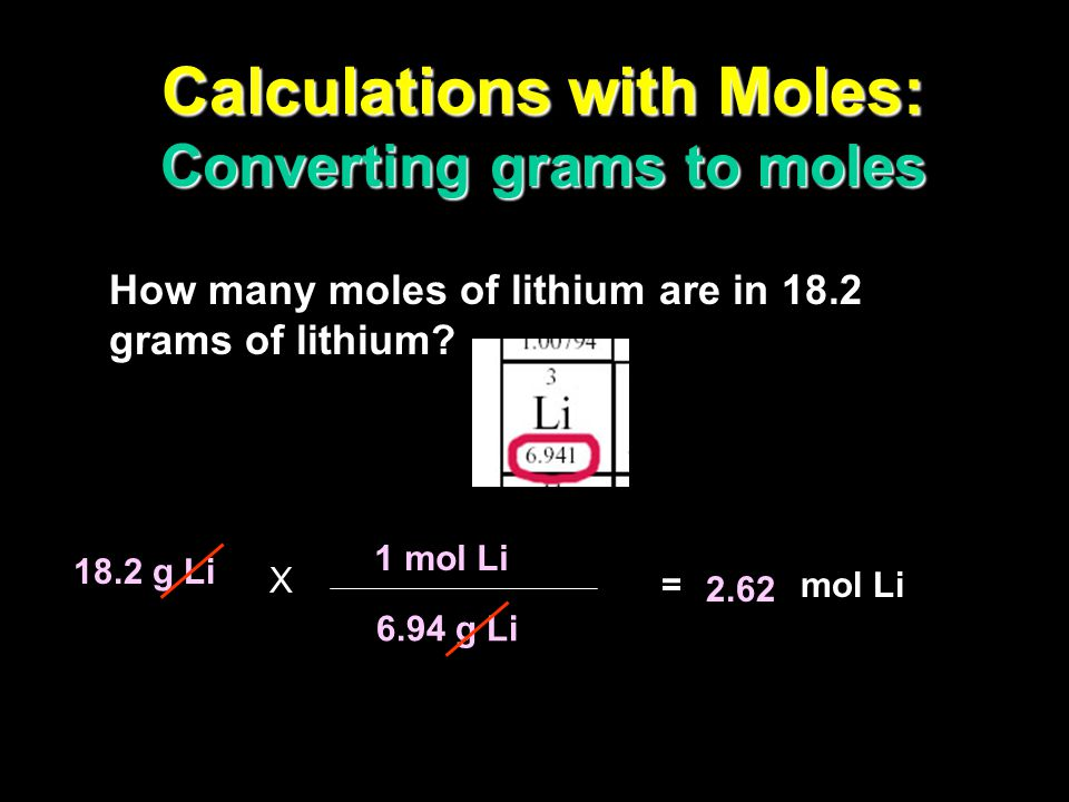 Calculations with Moles: Converting grams to moles